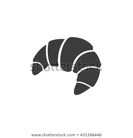 Stockfoto: Zwarte · croissant · icon · geïsoleerd · witte · vector