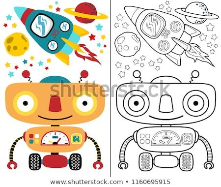 Stockfoto: Grappig · kleurrijk · robots · collectie · illustraties · ingesteld