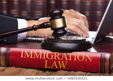 male judge with immigration law book typing on laptop stock photo © andreypopov