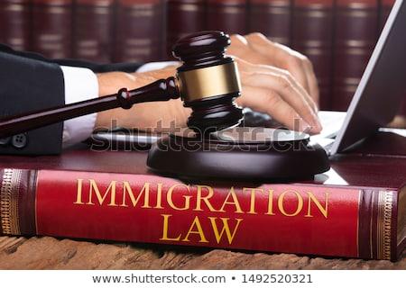Maschio giudice immigrazione legge libro digitando Foto d'archivio © AndreyPopov