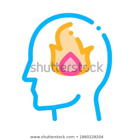 Burning Fire Flame In Man Silhouette Mind Vector Stock photo © pikepicture
