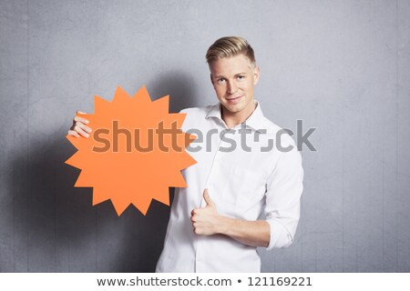 Man giving thumbs up at blank panel promoting sales. Stock photo © lichtmeister