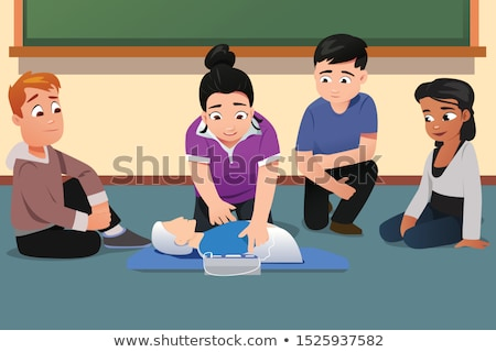 Instructor Demonstrating CPR to Students Vector Illustration Stock photo © artisticco