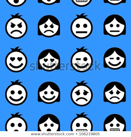 blue people face icon seamless pattern background stock photo © cienpies