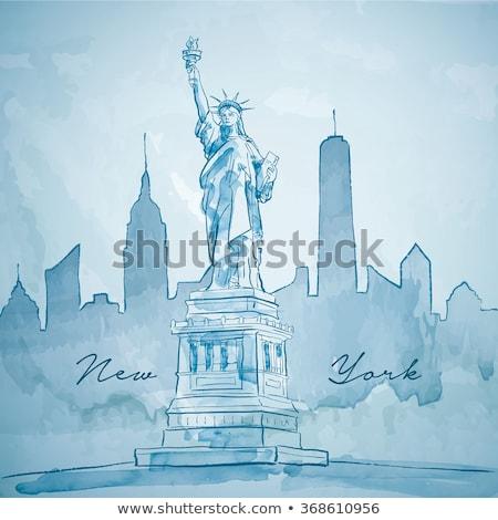 Standbeeld vrijheid aquarel hemel hand kunst Stockfoto © doomko