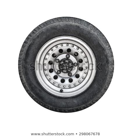 ciągnika · opon · odizolowany · biały · przemysłu · czarny - zdjęcia stock © boggy