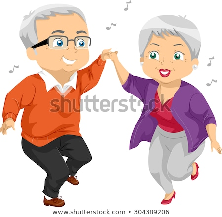 Senior Citizen Couple Dance Illustration Stock photo © lenm