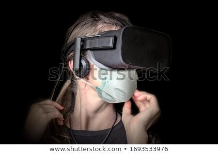 Mulher virtual realidade protegido mulher bonita cartaz Foto stock © jossdiim