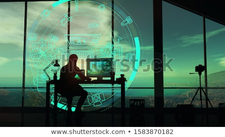 The photographer at work with holographic projection Stock photo © ConceptCafe