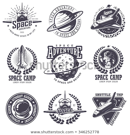 rocket ship launch space travel sign badge label logo set Stock photo © vector1st