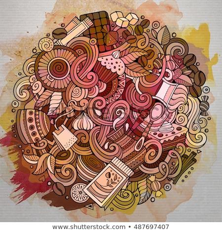 Cartoon garabatos Servicio Cafetería ilustración línea Foto stock © balabolka