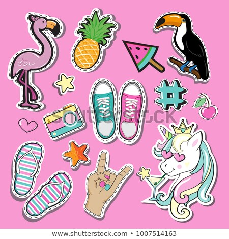Rosa flamingo adesivo ver carta desenho animado Foto stock © barsrsind