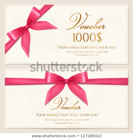 Gift Card Paper Certificate with Red Ribbon Bow Stock photo © robuart