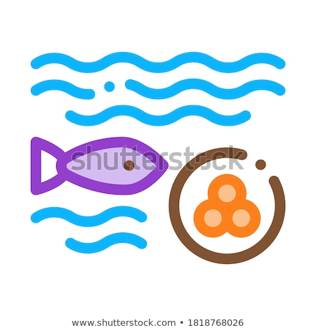 Fish Lays Caviar Icon Vector Outline Illustration Stock photo © pikepicture