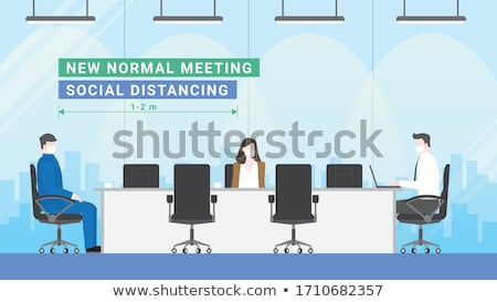 Social distancing concept - flat design style illustration Stock photo © Decorwithme