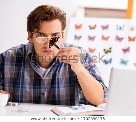 Estudante estudar novo espécies borboletas homem Foto stock © Elnur