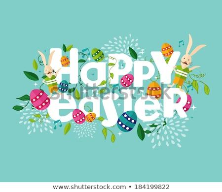 Iyi paskalyalar sevimli çiçek yumurta tavşan kart Stok fotoğraf © cienpies