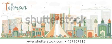 Skicc Teherán sziluett kék üzleti út turizmus Stock fotó © ShustrikS