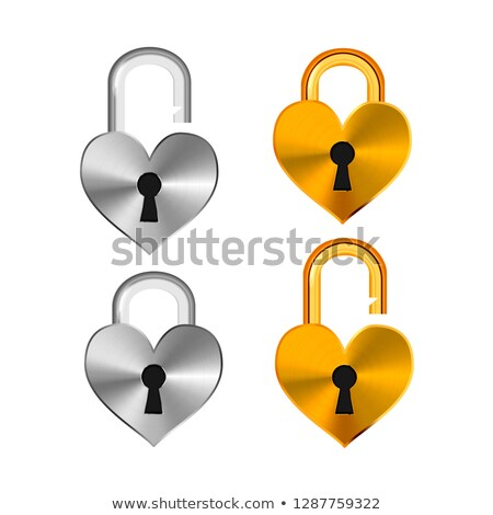 Open and closed realistic padlocks in heart shape made from different metals isolated on white Stock photo © evgeny89