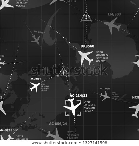 Detailed black and white radar display with planes routes and target signs seamless pattern Stock photo © evgeny89