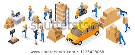 Courier Delivery Job Isometric Icons Set Vector Stock photo © pikepicture