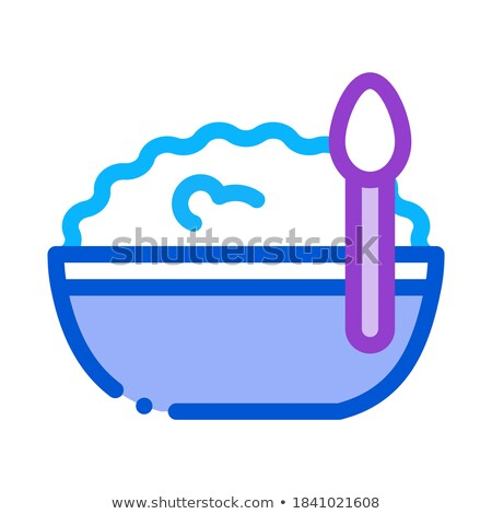 bowl of cottage cheese and spoon icon vector outline illustration Stock photo © pikepicture