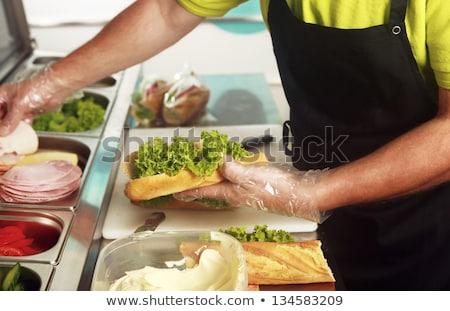 Chef sándwich detalles restaurante alimentos mano Foto stock © vladacanon