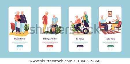Starych ludzi życia app interfejs szablon starszy Zdjęcia stock © RAStudio