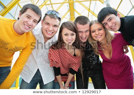 group of young friends on footbridge look on you Stock photo © Paha_L