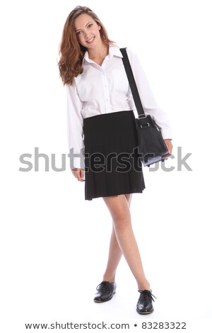 adolescente · uniforme · scolaire · épaule · sac · sourires - photo stock © darrinhenry
