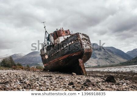 гнилой лодка Шотландии побережье пляж время Сток-фото © prill