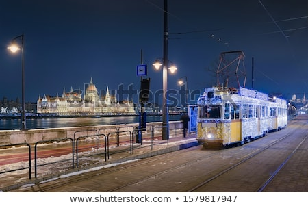 Tramway and parliament building in Budapest, Hungary stock photo © vladacanon