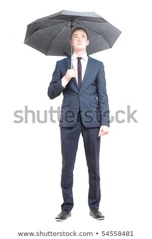 Banqueiro guarda-chuva isolado branco dinheiro fundo Foto stock © photography33