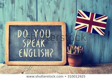 mówić · angielski · biały · kredy · tablicy - zdjęcia stock © bbbar