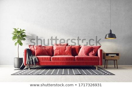 piros · kanapé · téglafal · fa · fa · fény - stock fotó © Ciklamen