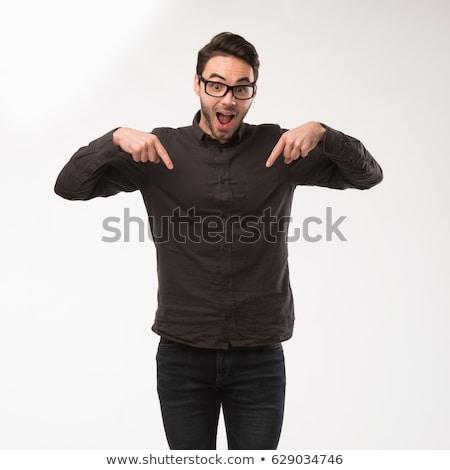 Férfi mutat üres tábla üzlet iroda Stock fotó © experimental