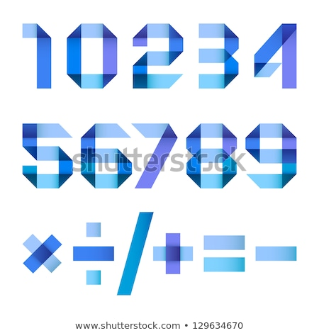 Stock photo: Font folded from colored paper - Arabic numerals