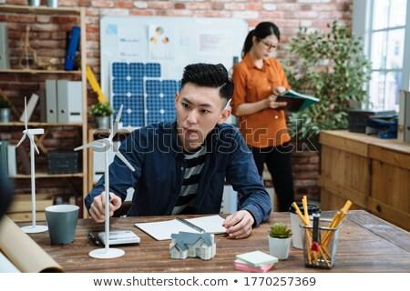 Doua arhitect uita miniatura carcasa model Imagine de stoc © photography33