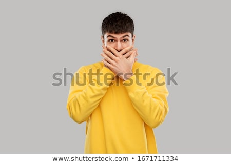 Man with hand on mouth Stock photo © stevanovicigor