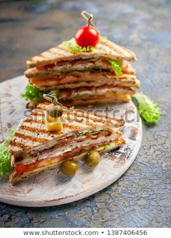 Lezzetli sandviç büyük Türkiye et domuz pastırması Stok fotoğraf © zhekos