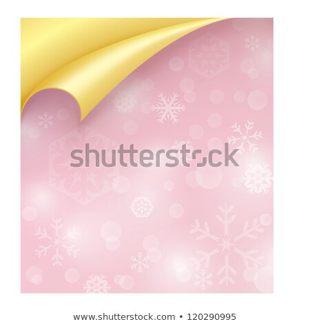Pink Paper with Snowflake Texture and Curled Golden Corner Stock photo © liliwhite