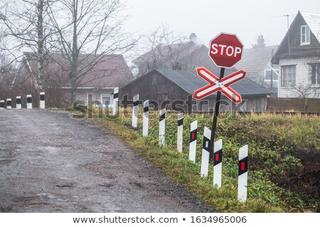 Old Road Markings Stop in Countryside Stock photo © swatchandsoda