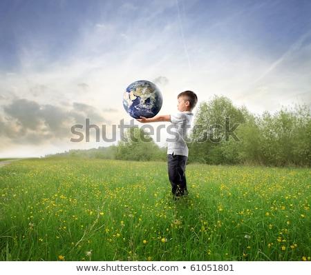 künstliche · Erde · Europa · weiß · blau - stock foto © dashapetrenko
