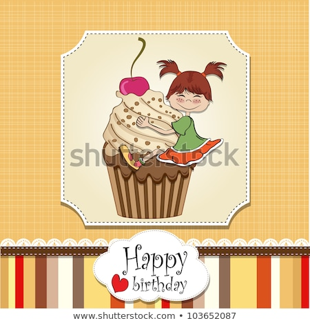 birthday card with funny girl perched on cupcake Stock photo © balasoiu