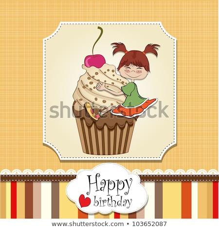 birthday card with funny girl perched on cupcake Stock photo © balasoiu
