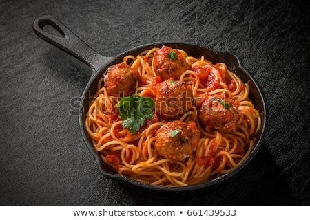 spagetti · paradicsomszósz · húsgombócok · étel · étterem · hús - stock fotó © m-studio