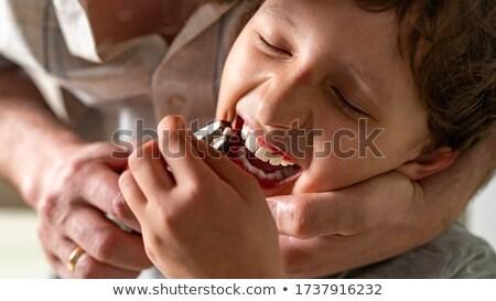 çocuk kayıp diş genç kız uzun yalıtılmış Stok fotoğraf © doupix