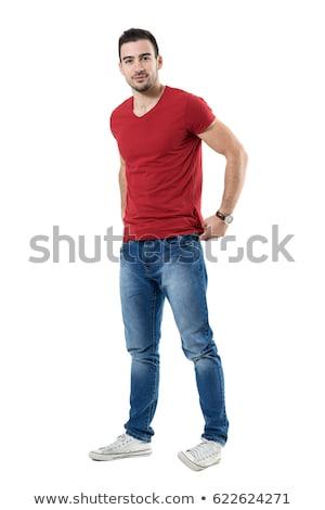 teljes · alakos · barátságos · mosolyog · izmos · férfi · pózol - stock fotó © stepstock