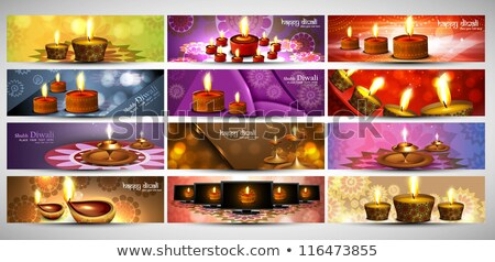happy diwali stylish bright colorful collection headers set of v stock photo © bharat