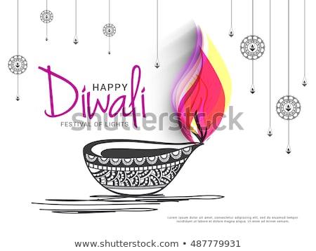 beautiful religious diwali diya elements background vector stock photo © bharat